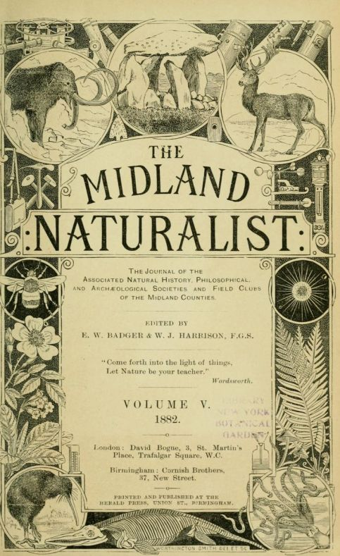 Volume V of the 1882 Midland Naturalist, printed in London.
