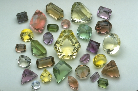Faceted fluorite gems, from the Smithsonian National Museum of Natural History